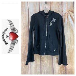➡️Twisted Heart Black Zippered Hoodie Size Large